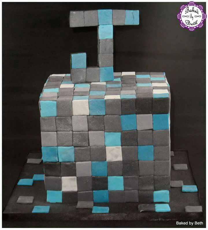 Minecraft diamond ore cake.