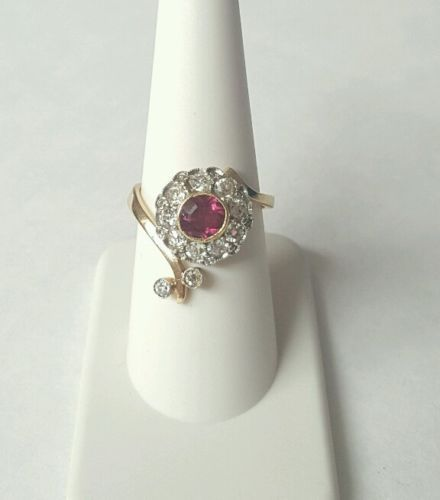 Antique-Old-Mine-Diamonds-Tourmaline-Yellow-Gold-Ring