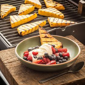 Grilled Polenta Wedges with Honey Mascarpone, a recipe from ATCO Blue Flame Kitchen's From the Grill 2014 cookbook.