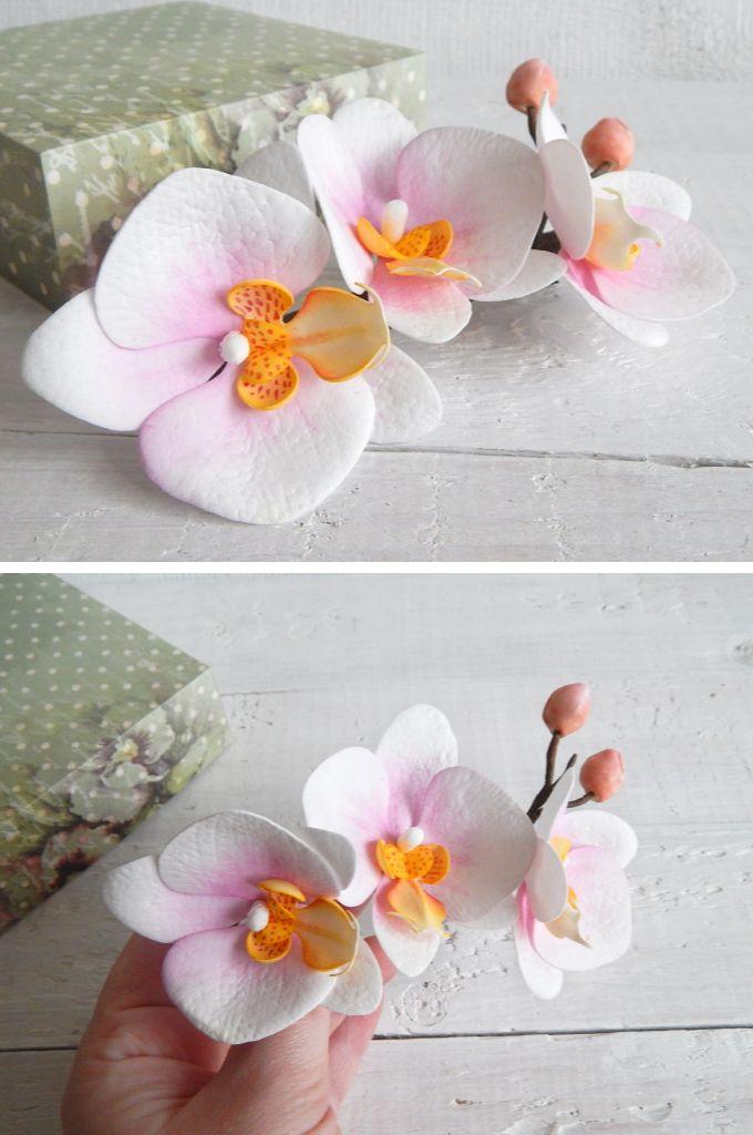 White Orchid Hair Clip Tropical Hair Piece Beach Wedding Etsy Orchid Hair Piece Orchid Hair Accessories Diy Hair Pieces