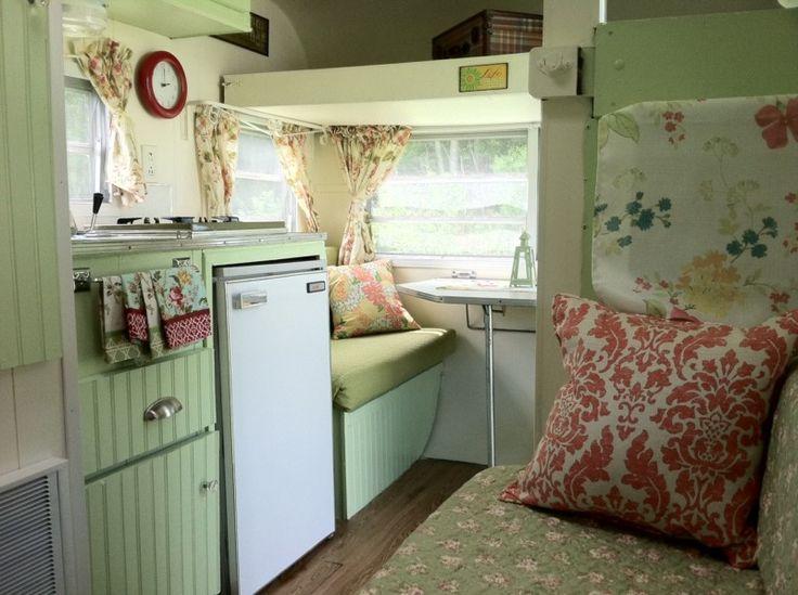 Camper Design Ideas were in love with this travel trailers retro chic interior decorating ideas Cute Travel Trailer Interior