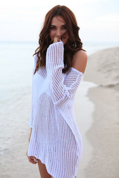 White Crochet Bikini Cover Up Dress - FREE SHIPPING!! Features: Scoop Neck White Cover up Dress, Full length sleeves measurements - Bust: 96cm / Sleeves: 88cm / Length: 88cm (Crochet Cover Up Dress) #bikinicoverup