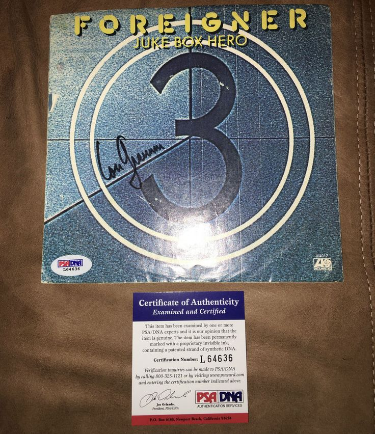 Foreigner LOU GRAMM signed autographed 45 record LP cover Juke Box Hero PSA DNA