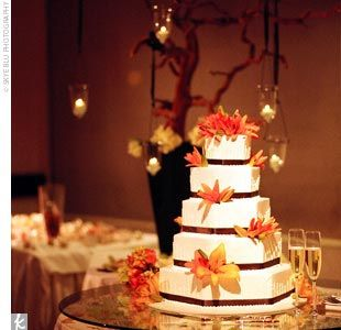 Fall Centerpieces For Weddings | Jonathan chose the couple's cake, a five-tiered, hexagonal cake with ...