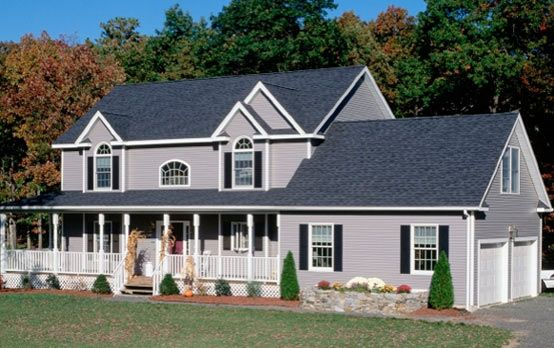 Best Harbor Blue Roof Gray Siding Navy Shutters Shingle 400 x 300