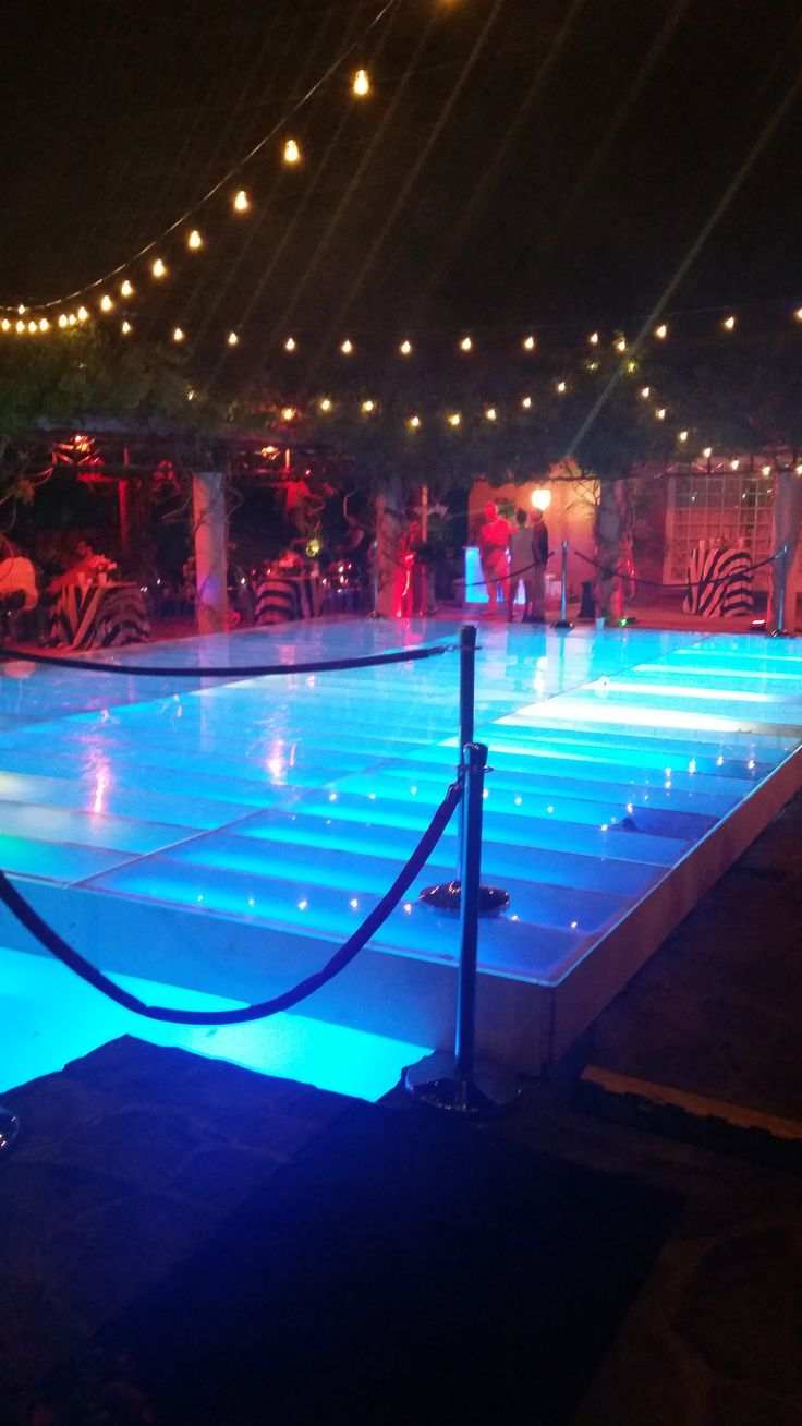 Custom- Built Dance Floor over Swimming Pool with Lights - DPC Event Services