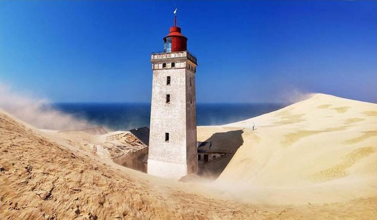 The Rubjerg Knude Lighthouse, Denmark, is sinking into the surrounding Sand Dunes