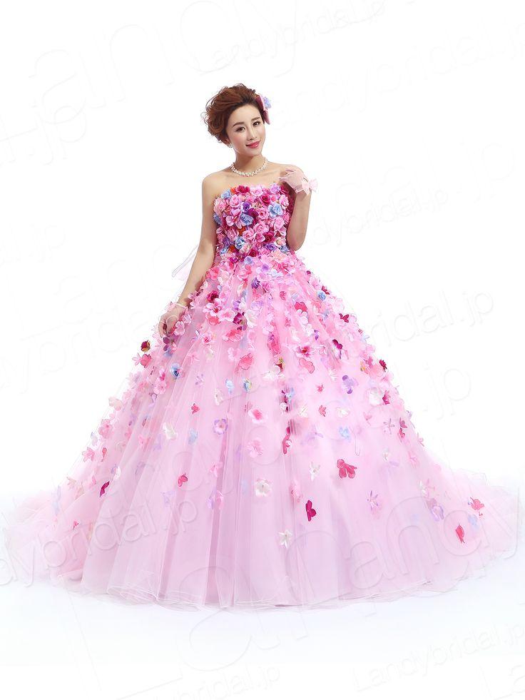 ランディブライダル #カラードレス プリンセスライン #ビスチェ 花びらを贅沢にあしらわった コートトレン サイズオーダードレス 結婚式 jp0110