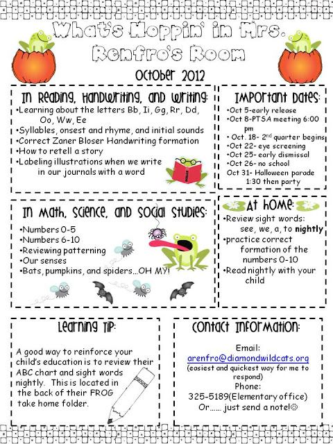 Best Kindergarten Newsletters Images On   Kindergarten