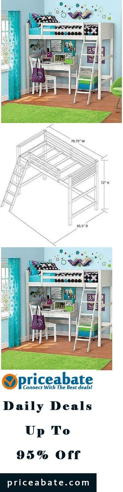 Loft bed | kids loft beds | Kids Twin Size Loft Bed Over Desk White Bedroom Furniture Wood Bunk Teen Sturdy - Buy This Item #Priceabate Now For Only: $297.98