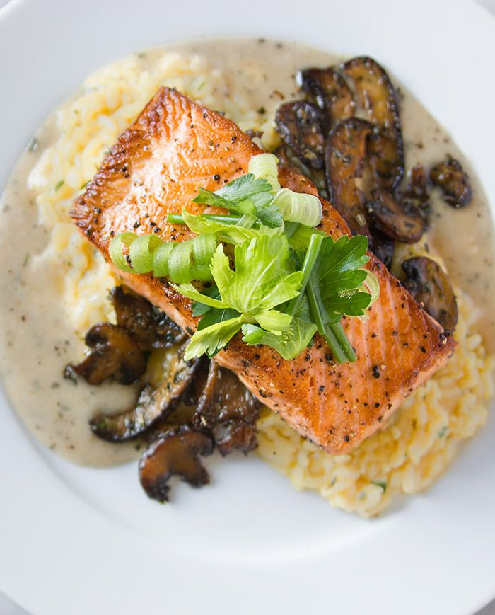 Make-ahead par-cooked risotto recipe with baked salmon, buerre blanc and herbed mushrooms from Nordstrom. Photo by Jeff Powell.
