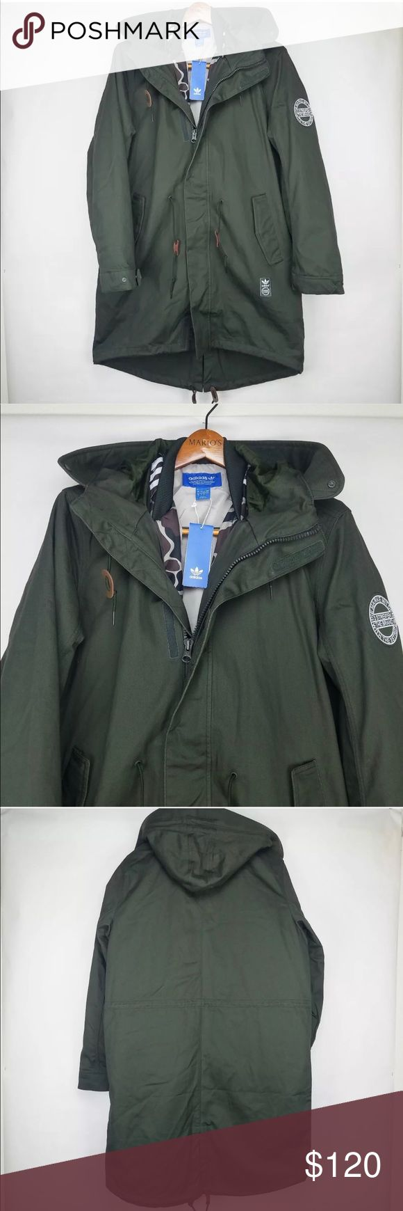 ADIDAS ORIGINALS 2 IN 1 PARKA / Olive Green L Brand New ADIDAS Originals 2 in 1 Utility Fishtail PARKA Jacket / Size L / Olive Green Includes Military Print Insulated Inner Bomber Coat adidas Jackets & Coats