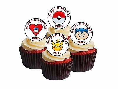 24 Personalised any name POKEMON GO Edible Cupcake Toppers