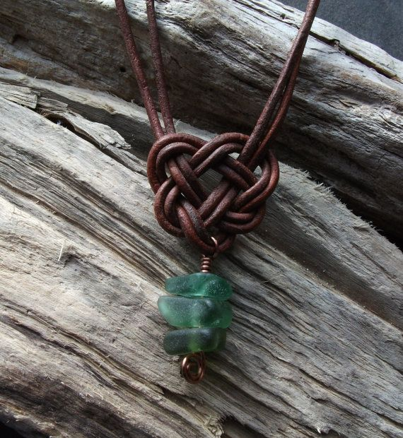 Scottish SeaGlass and  Leather Celtic Knot by byNaturesDesign, $15.00