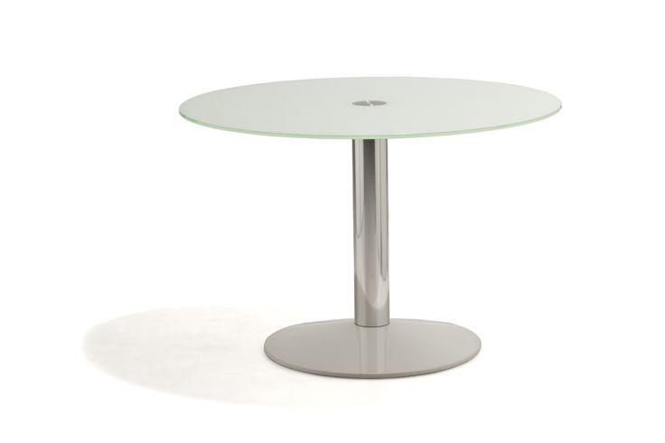 Hamilton - Bord med vit glasskiva, underrede i borstat stål och bottenplatta i vit högblank hårdplast.