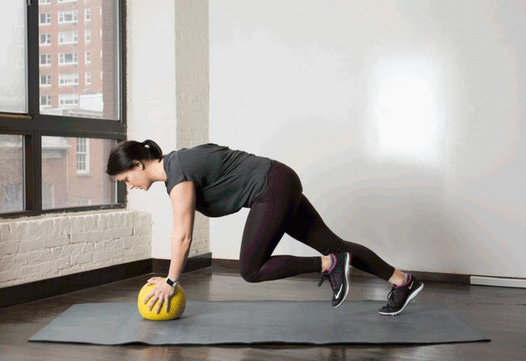 5. Med Ball Mountain Climbers #medicineball #abs #workout http://greatist.com/move/core-exercises-medicine-ball?utm_source=Sailthru&utm_medium=email&utm_content=story3_image&utm_campaign=daily_newsletter_2016-02-29_mails_daily_new_header?utm_source=pinterest&utm_medium=social&utm_campaign=onsiteshare You're gonna have a ball with these.