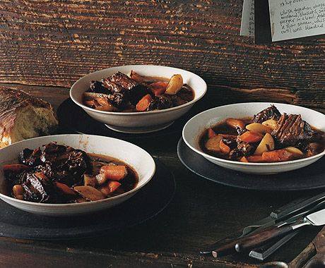 Beef Stew with Potatoes and Carrots - This full-bodied stew will bring the crowd running when you lift the lid. First, pieces of chuck are browned to develop their flavor, then they're braised in a red-wine beef broth. Adding the potatoes and carrots toward the end of cooking keeps their character and color bright.