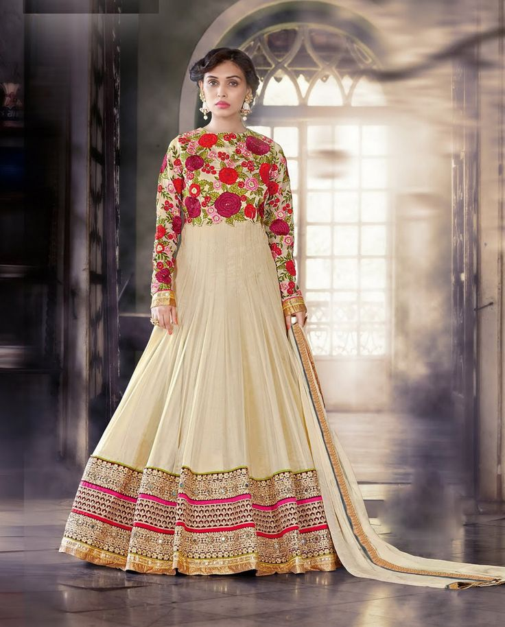 1. Cream georgette suit with Cream Dupion silk bodice 2. Highlighted with resham thread embroidery all over 3. Embellished with diamantes 4. Heavy embroidered border with gota border at the hemline 5. Comes with a matching chiffon dupatta and shantoon churidar 6. Can be stitched up to 42 size