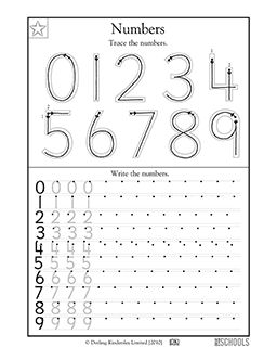 1st grade, Kindergarten Math Worksheets: Trace the numbers