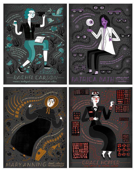 Galería de mujeres científicas. Ilustraciones de Rachel Ignotofsky.