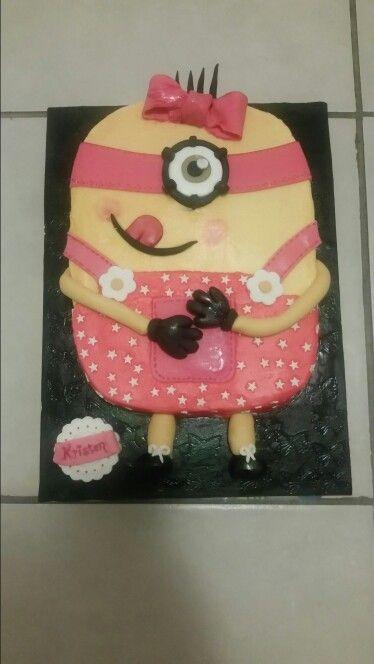 Chocolate Cake Pink Minion Girl Cake by Cavell Steenkamp