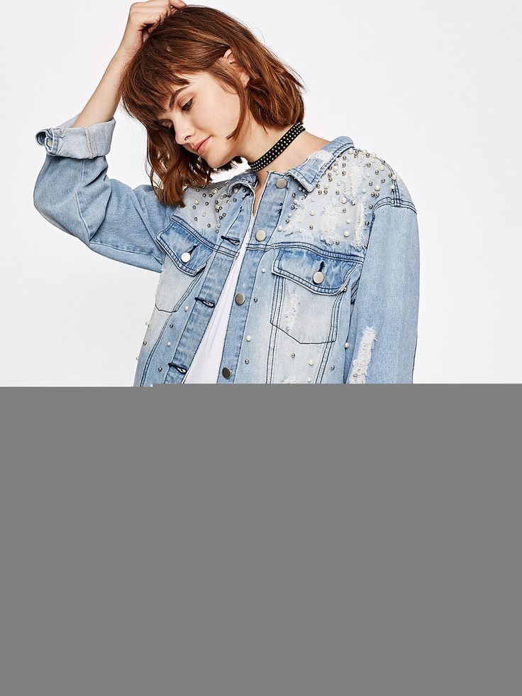Shop Pearl Beading Bleached Boyfriend Denim Jacket online. SheIn offers Pearl Beading Bleached Boyfriend Denim Jacket & more to fit your fashionable needs.