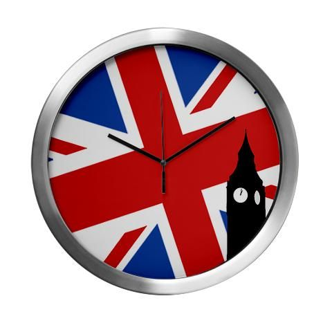 """'Big Ben' Modern Wall Clock    http://www.cafepress.com/britshop.627834440    With a stylish aluminum body and sturdy glass face, this Modern Wall Clock is both great-looking and durable. Measuring 14"""" in diameter, it's perfect for the office, kitchen, TV room, or wherever you need that modern touch. Featuring Quartz movement for true accuracy, it operates on a single """"AA"""" battery.    - Measures 14"""" in diameter  - Quartz movement  - Aluminum body  - Plexiglas Front Cover $37.99"""