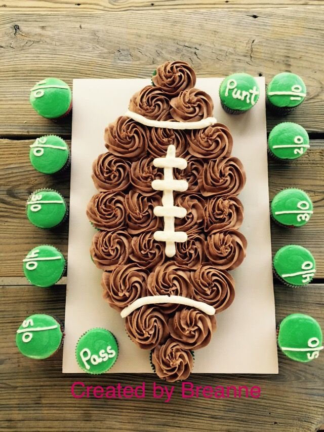 Organize your cupcakes into a football for your next football party.