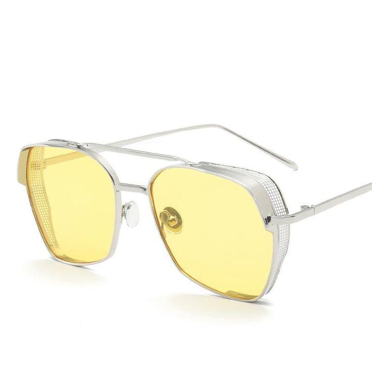 Peekaboo mens shield sunglasses women high quality blue yellow lens metal frame mirror sun glasses for men uv400