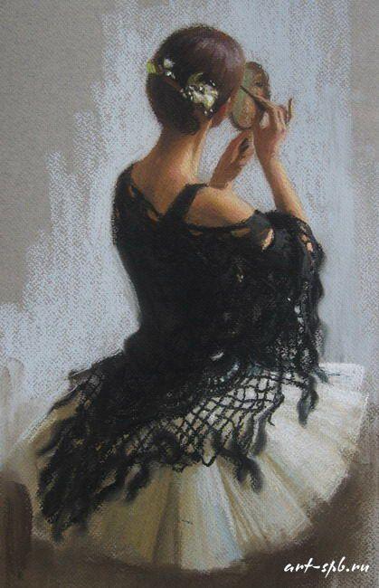 Painting by Anastasia Vostrecova - Ballet, балет, Ballett, Bailarina, Ballerina, Балерина, Ballarina, Dancer, Dance, Danse, Danza, Танцуйте, Dancing, Classical Ballet, Russian Ballet