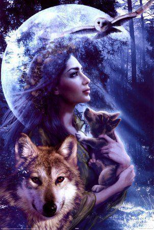 Bellísima imagen de la Divinidad Diana, Artemisa y el de su animal, el lobo, la loba...y su subespecie, el perro o la perra