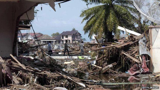 Scene of devastation in Banda Aceh, Indonesia on 27 December 2014