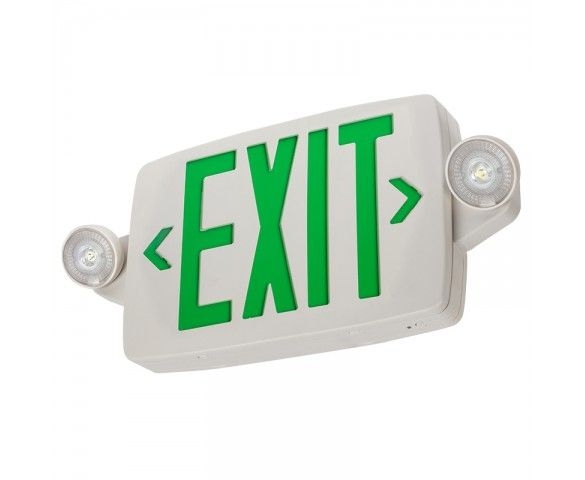 White Led Exit Sign Emergency Light Combo W Battery Backup Single Or Double Face Adjustable Light Heads Green Adjustable Lighting Emergency Lighting Exit Sign