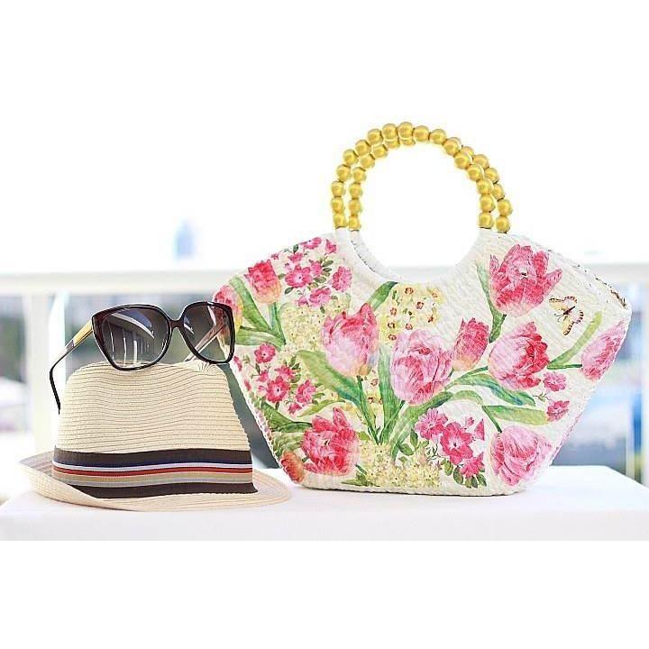 $79.00 Pink tulips designed decoupage handbag. by 1stDesign