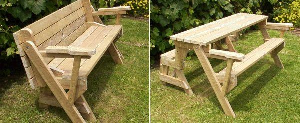 Un banc qui se transforme en table de picnic jardin for Table qui se deplie