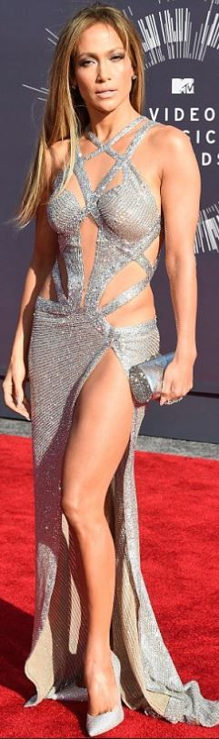 Who made  Jennifer Lopez's silver cut out gown and crystal pumps that she wore that she wore in Inglewood on August 24, 2014 #TrueLove