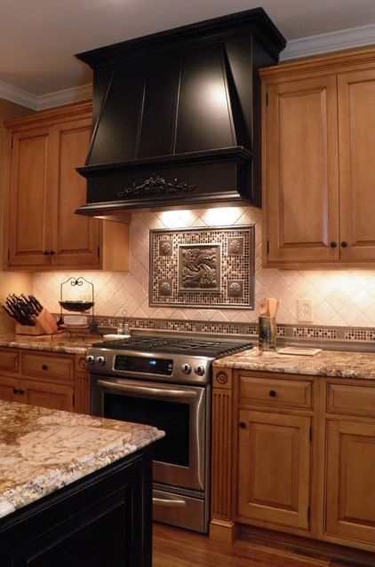 Kitchen This Range Hood And The Kitchen Island Are Stained Ebony Their Finishes Make For