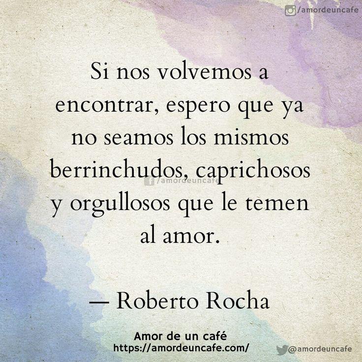 Si nos volvemos a encontrar, espero que ya no seamos los mismos berrinchudos, caprichosos y orgullosos que letemen al amor.  Roberto Rocha
