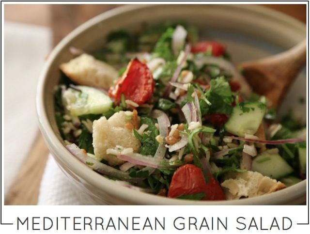 MEDITERRANEAN GRAIN SALAD with roasted tomatoes and sourdough croutons