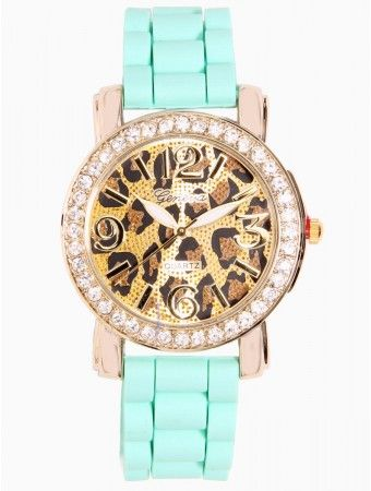 Rhinestone Cheetah Print Watch