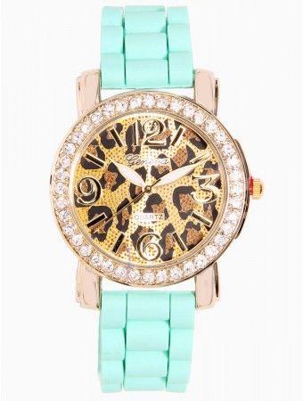 Rhinestone Cheetah Print Watch