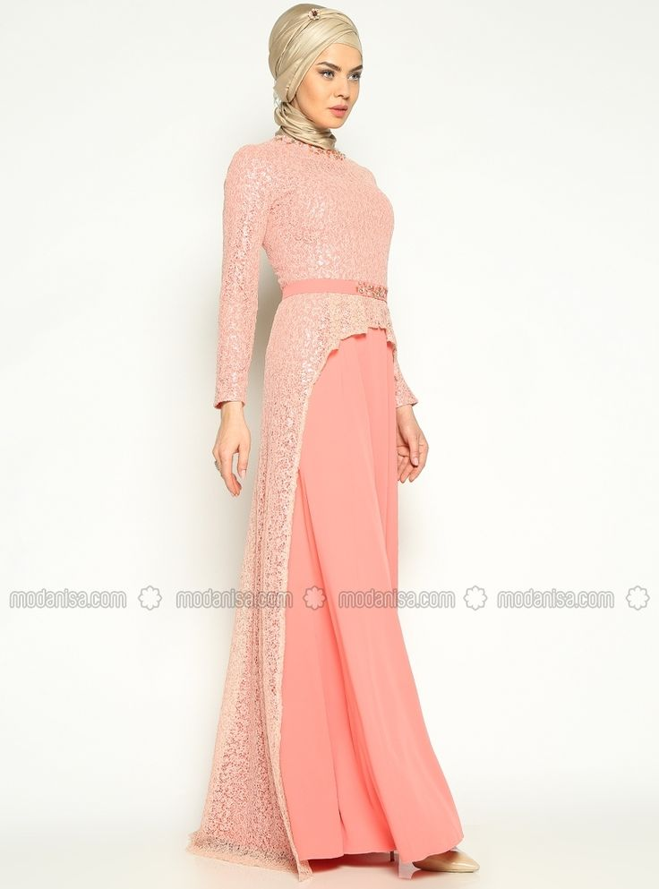 Laced Evening Dress - Salmon - Mislina