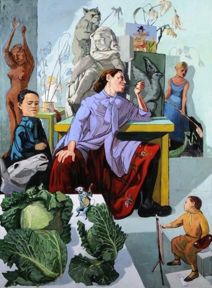 The Artist in her Studio 1993  Acrylic on canvas  Paula Rego (1935-present)    Its a portrait of a sculptress in her studio. Its in Leeds city art gallery.