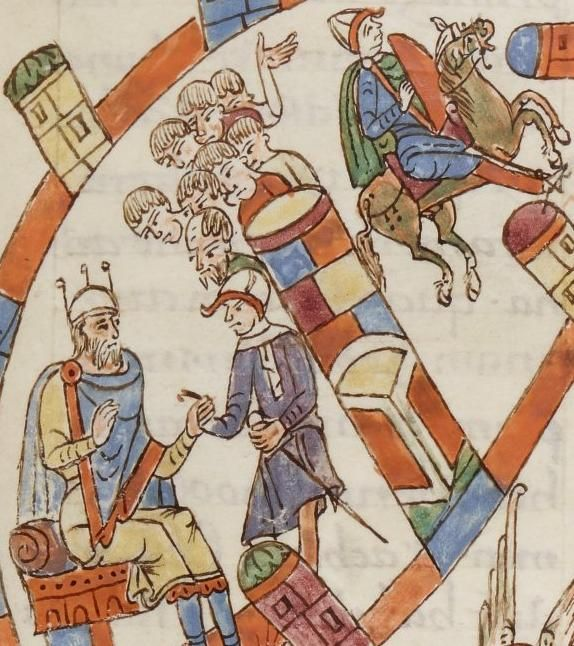 Illustration from the Roda Bible, c.1050-1100AD Biblia Sancti Petri Rodensis. Ms Latin 6 (2) folio 063r Job warned of the sinister