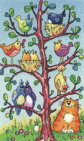 Counted cross stitch kit by Heritage Crafts, designed by Karen Carter. The kit includes fabric, pre-sorted threads, needle, chart and full instructions. A collection of very colourful birds being watched by a very large ginger cat. - Available from Johnson Crafts http://www.johnsoncrafts.co.uk/birds-of-a-feather-bird-watching.html