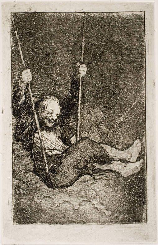 Francisco de Goya – Viejo columpiándose, 1826-1828, Serie Últimos caprichos,  Aguafuerte, aguatinta, aguada y bruñidor. Museo Nacional del Prado.