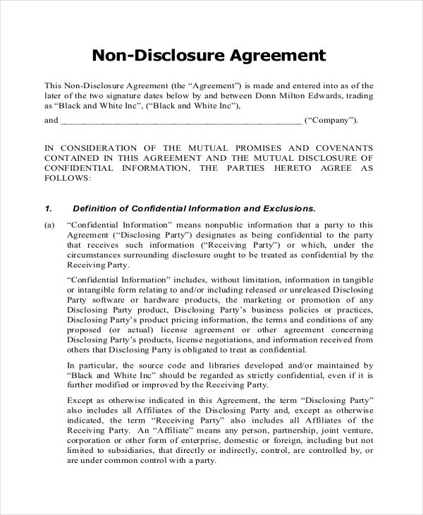 Non disclosure agreement form non disclosure agreement for Nda template word document