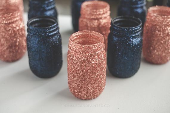 Set of 6 Rose Gold & Navy Blue Glitter Vase Centerpieces, Bridal Shower, Baby Shower, Rose Gold Wedd