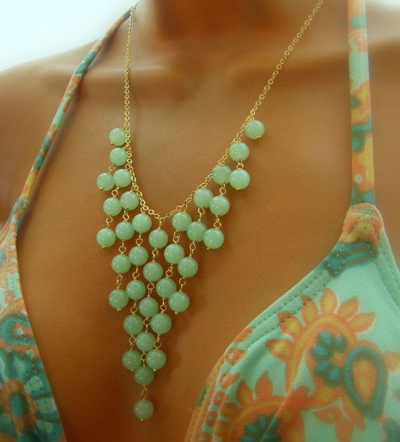 Seafoam Statement Necklace Beaded Necklace by cuppacoffee