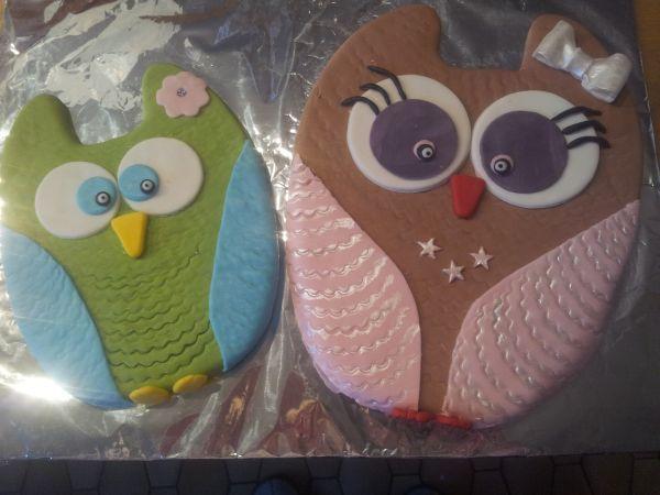"""Meiner griechischen Kollegin wollte ich zu Weihnachten ein paar selbstgebackene Kekse backen und dachte daher an """"Eulen nach Athen"""" tragen. Aus dieser Idee wurden dann zwei Riesenkekse in Form von Eulen."""